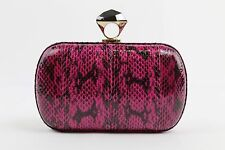 DVF Pink And Black Faux Snake Embossed Diamond Clutch