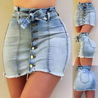 ❤️Women High Waist Denim Front Button Slim Mini Skirt Casual Bodycon Jean Skirts
