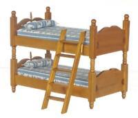 Dolls House Walnut Wooden Bunk Beds Miniature 1:12 Bunkbeds Bedroom Furniture