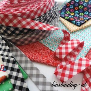30mm ~ ACUARIO 9mm Gingham Handmade Extra Wide Bias Binding Tape ~ 20 Colours