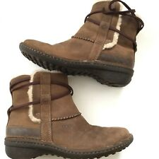 UGG Women's Cove 5136 Brown Leather Ankle Boots Shearling Sheepskin size 7