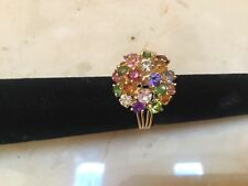 18K Yellow Gold Natural Multi Gemstone Cluster Flower Ring Size 7 - Stunning