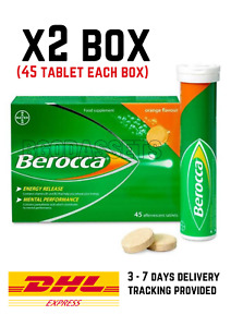 Berocca Multivitamin Effervescent Orange Tablet (45's x 2) For Body Immune.