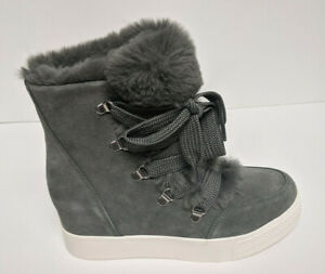 Steve Madden Wharton Hidden Wedge Ankle Boots, Grey Suede, Women's 7.5 M