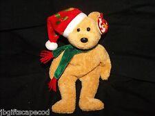 Ty 10 Yr Anniversary - Holiday Teddy - 2003 - Retired - Cute Pom Pom Hat - Lqqk