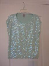 Worthington Petite Medium Iridescent Sequin Top Mint Light Green PM Stretch Knit