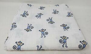 Aden & Anais White/Blue Monkeys Oversized Muslin Cotton Swaddle Baby Blanket