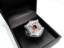 Men's Custom Blue Sapphires And Garnet Silver Fleur De Li Ring By Sacred Angels
