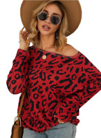 Women Leopard Print Sleeve Blouse Ladies autumn Loose Tops T-shirt Pullover