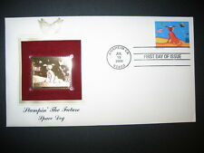 2000 Stampin The Future SPACE DOG 22kt Gold Golden Cover Replica FDC Stamp