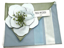 TED ROSSI NYC Leather Envelope Clutch Pastel Blue Green Italian Lamb Leather