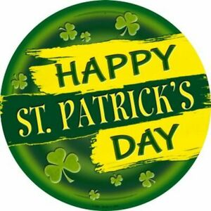 """Happy St Patrick's Day Clover Metal Circle Sign 12"""" Wall Decor - DS"""