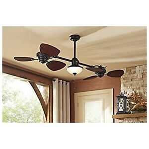 Harbor Breeze Twin 74-in Oil Rubbed Bronze In/Outdoor Downrod Mount Ceiling Fan