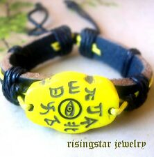 Men's Yak Bone Eye of Protection Amulet Leather New Age Character Bracelet