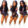❤Summer Women Long Sleeve Perspective Sexy Cute Print Zipper Club Short Jumpsuit