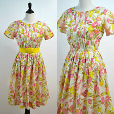 1950s Floral Dress Flare Skirt 50s Vintage Pleated Front Small S M 1960s 60s