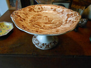 19th Century  WEDGWOOD .. Antique.. Transfer Scenic Print Compote w/Handles