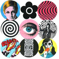 TWIGGY, BIBA, MARY QUANT etc  BADGES, POP ART, MOD, 60's