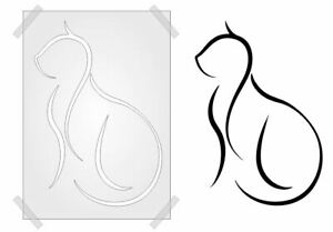 FELINE CAT Stencil SHABBY CHIC template PLASTIC CARD/WALL ART SIMPLE KITTY LINES