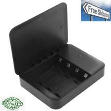 USB 2.0 4 x AA Batteries Box Portable Charger with Flashlight(Black) NEW