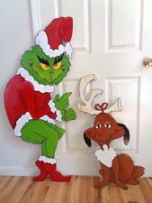 GRINCH and MAX THAT STOLE THE CHRISTMAS LIGHTS. DECOR. YARD ART
