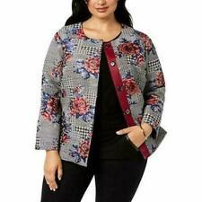 Alfani Womens Jacket 3x Floral Houndstooth Tweed Snap Front Plus Size Blazer New