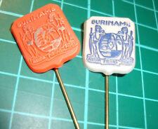 Suriname Surinam - stick pin badge vtg lapel speldje 2pcs