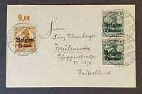 1918 Belgium to Germany German Occupation Overprint Mini Small Cover