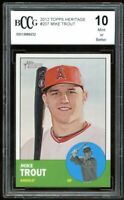 2012 Topps Heritage #207 Mike Trout Rookie Card BGS BCCG 10 Mint+