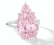 8 ct Engagement Ring 925 Sterling Silver Pink Pear Split Shank Solitaire Gift
