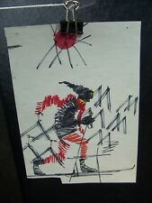 Abstract Skier 1946-59 Original Ink Sketch By C. Kelm