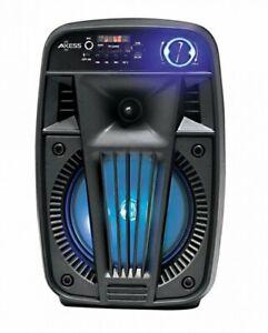 "Loud Speaker 6.5"" Black w/LED Light Bluetooth Portable/Rechargeable & FM Radio"