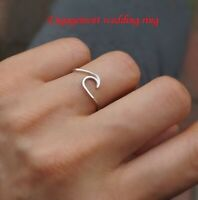 Fashion 925 Silver Ocean Wave Wedding Engagement Couple Ring Gift Surfer Jewelry