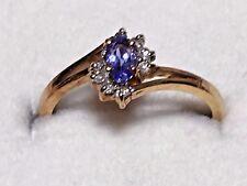 4999: Vintage 14K Yellow Gold Tanzanite & Diamond chip Ring, Wt 1.9g, Size 6.75