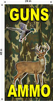 NEW PERFORATED WINDOW VINYL DECAL GUNS AMMO HUNTING 2' X 4'  GRAPHIC VERTICAL