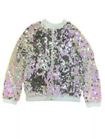 Girls Pink & Silver Flip Sequin Zip Up Sweatshirt Jacket