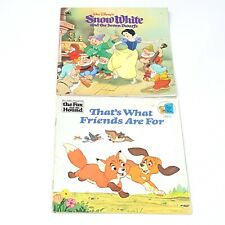 Vintage Lot of 2 Golden Look Books Walt Disney Snow White Seven Dwarfs Fox Hound