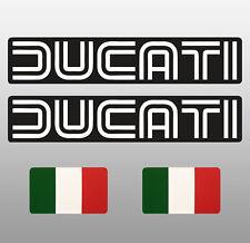 DUCATI - 4-teiliges Set 2 x DUCATI + 2 x ITALIA - Caferacer Oldschool Vintage