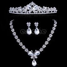 New Wedding Butterfly Headband Bridal Flower Tiara Necklace Earrings Jewelry Set
