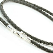 Grey Leather Necklace-Sterling Silver Clasp-Real 3mm Braided Leather Cord