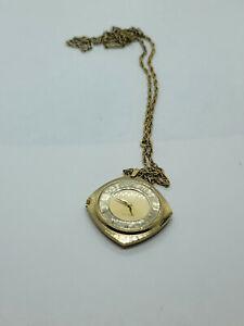 Vintage Bulova Pendant wristwatch with 12k GF neckless 17 Jewelss RUNNING