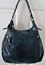 PERLINA Green Snakeskin Embossed Leather HOBO Shoulder Bag Purse XLNT Cond