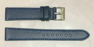 Pulsera Correa de Reloj Piel Legítima Cuero 18 mm Azul Azafata   Watchband 240
