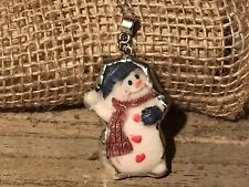 Recycled Broken Resin Jewelry, Christmas/Holiday Snowman Pendant