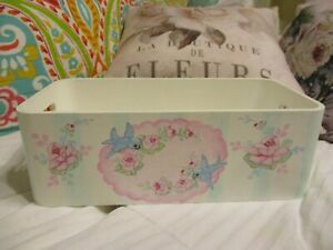 Shabby Chic Hand Painted Roses - Wood Tote Box with Handles