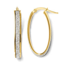 Leslies 14k Yellow Gold Polished Glitter Infused Oval Hoop Earrings