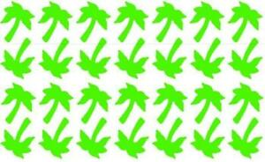 60 Palm Tree Shaped Stickers, lots of colours, craft, decoration, spray tattoos