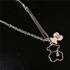 INS Retro Stitching Bear Necklace Hiphop Men Women Long Sweater Chain