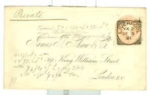 Stamps. GB Prepaid Cover. Embossed. Pink  .Liverpool squared circle 1881