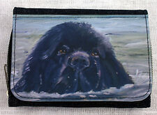 NEWFOUNDLAND DOG DENIM BLUE FABRIC  PURSE WALLET SANDRA COEN ARTIST PRINT